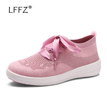 LFFZ Fashion Ballet Flats Women Riband Decoration Creepers Slip on Flat Shoes Women Air Mesh Breathable Ballerina Flats 35-41 недорого