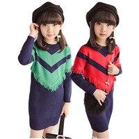 Adolescente Crianças vestido de camisola de Manga Longa roupas de Inverno Quente Crianças Desgaste Do Partido Da Menina Princesa 4-11Y