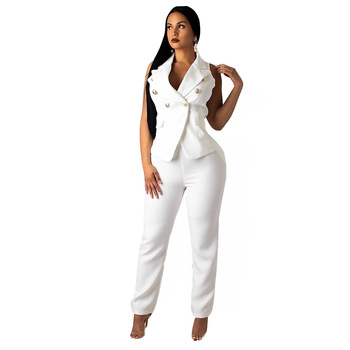 Women Summer Formal Pant Suit Sleeveless Blazer Jacket and Pants 2 Piece Sets Womens Office Work Clothing White Pantsuit factory labor work clothing jacket and pants suit house work apparel free shipping