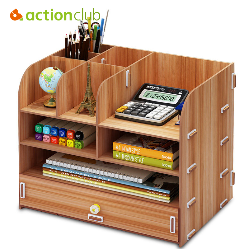 Actionclub Office DIY Desktop Storage Box Large Capacity Multi-layer Drawer File Documents Organizer Shelf Wooden Bookshelf все цены