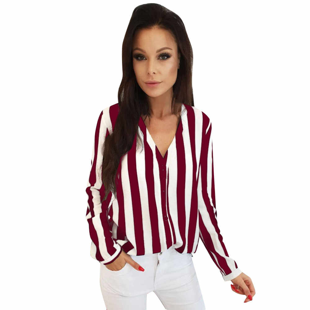 Blouse Women Casual Striped Top Shirts Blouses Female Loose Blusas Autumn Fall Casual Ladies Office Blouses Top Sexy