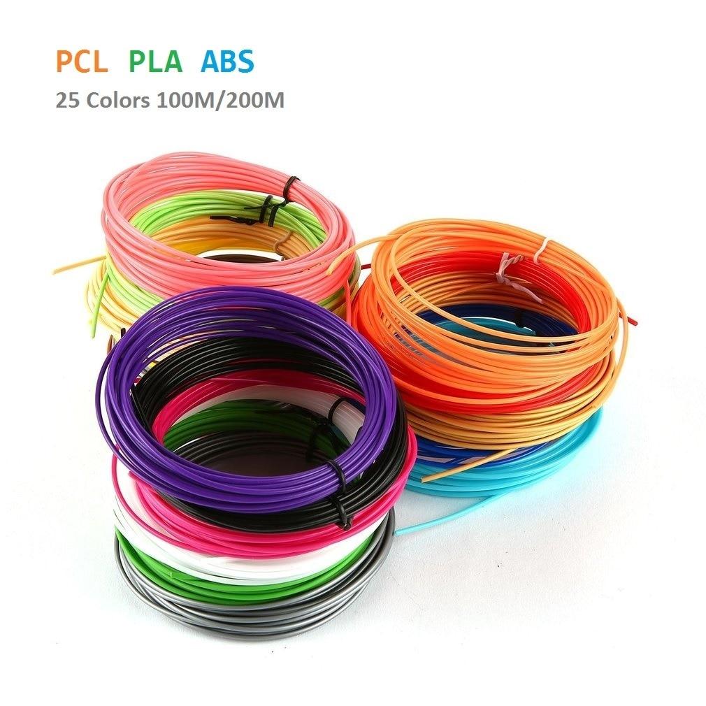 25 Colors 200m/100m PLA ABS PCL 3D Printing Filament Set 1.75mm Plastic Filament Fluorescent Print Materials For 3D Printer Pen