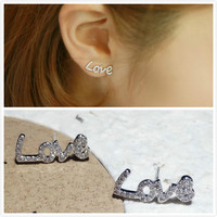 Exquisite White Gold 925 Sterling Silver Platinum Plated Zircon White Topaz AAA Crystal Letter LOVE Stud