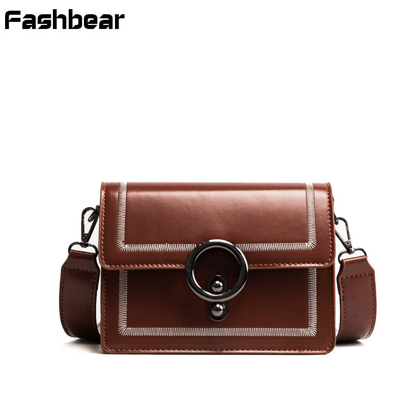 Women Messenger Bags PU Vintage Fashion Flap Handbags Female Metal Ring Crossbody bags For Women Korean Style Girls Shoulder ba