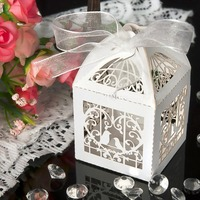 50pcs Lot Wedding Candy Box Love Hearts Ribbons Birds 3D Hollow Delicate Laser Cut Gift Box