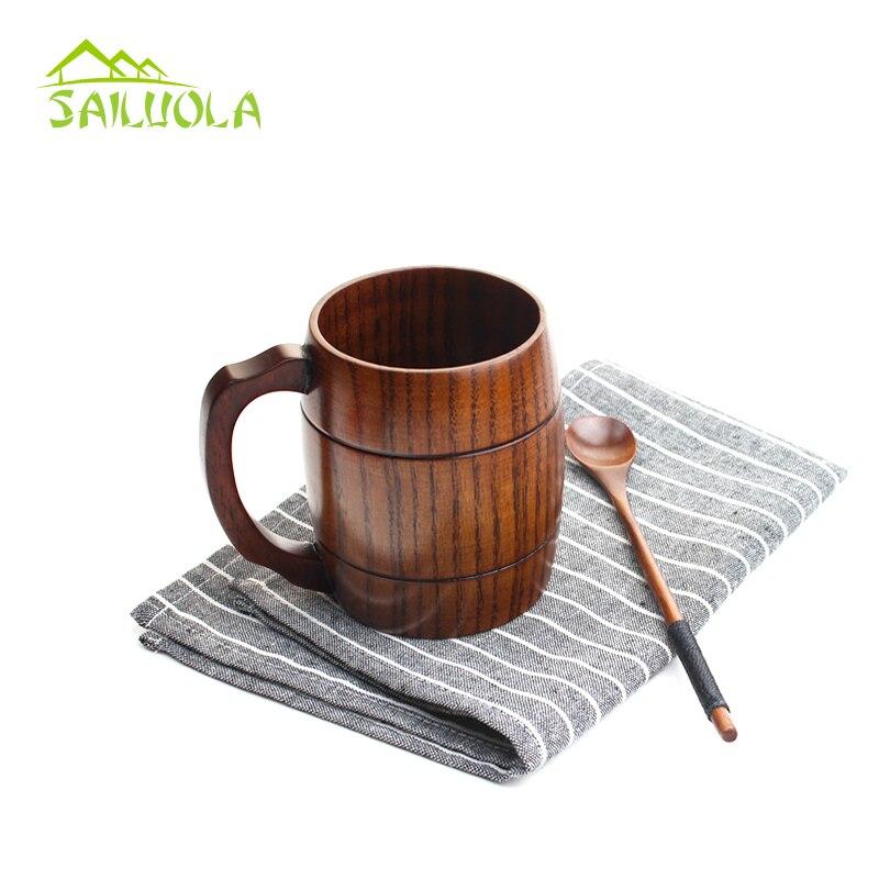 Hot výprodej 400ml kreativní dřevěný německý pivní hrnek na pivo s rukojetí osobnost dřevěný pohár Čaj Kávové šálky Ekologicky šetrné nápoje Caneca