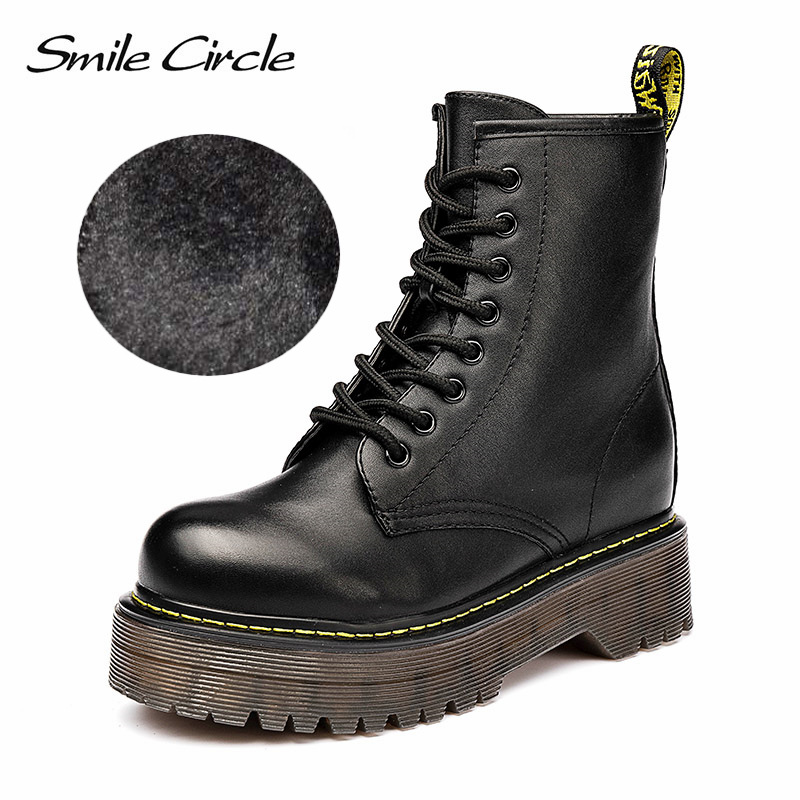 Smile Circle Size36-41 Chunky Motorcycle Boots For Women Autumn 2018 Fashion Round Toe Lace-up Combat Boots Ladies Shoes