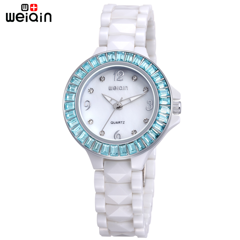 WEIQIN Original Fashion Luxury Rhinestone Ceramic Band Watch For Ladies 2018 Top Brand Women Watches Dress Leisure Relojes Mujer new quartz watch weiqin band fashion white ceramic rhinestone watches women analog clock ladies watch reloje relogios feminino