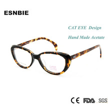 Fashion Eyeglasses Frame Women Cat Handmade Acetate Spectacles Tortoise High Quality Optical Glasses Demo Lens Myopia