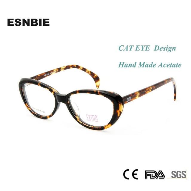 3a1318c8de ESNBIE Fashion Tortoise Eyeglasses Frame Women Cat Handmade Acetate Spectacles  Woman Optical Glasses Demo Lens Myopia