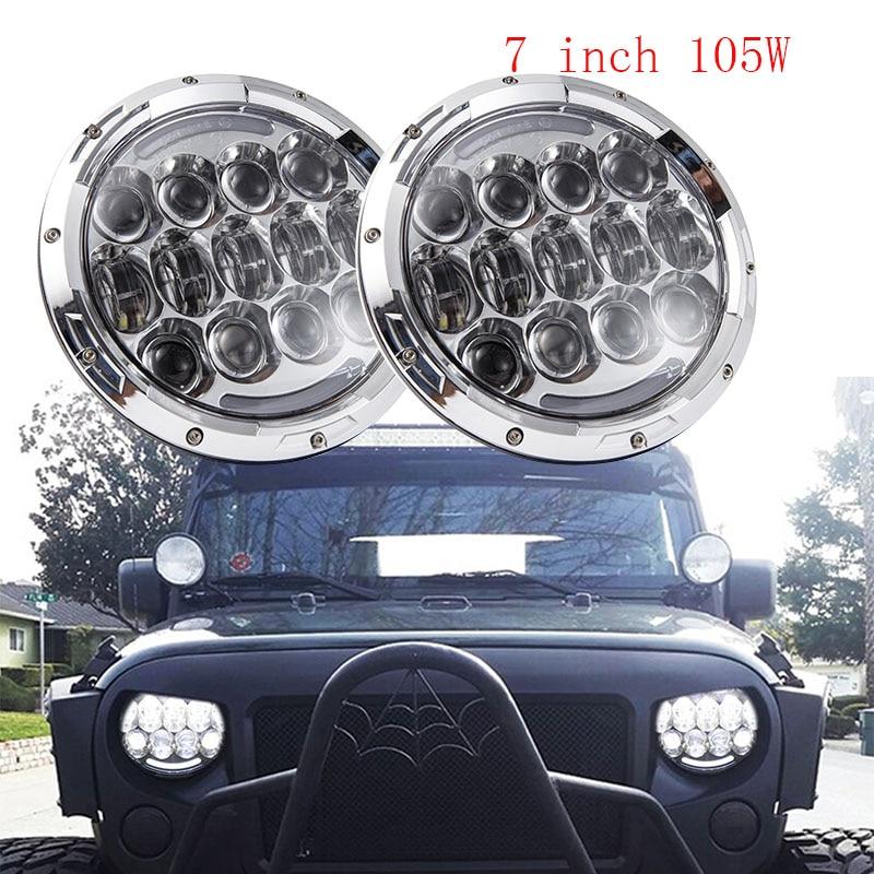 Černý / Chrome 2PCS 7 palců kulatý 105 W LED světlomet DRL směrový signál pro Jeep Wrangler Hummer 4x4 4WD SUV hnací světlomet