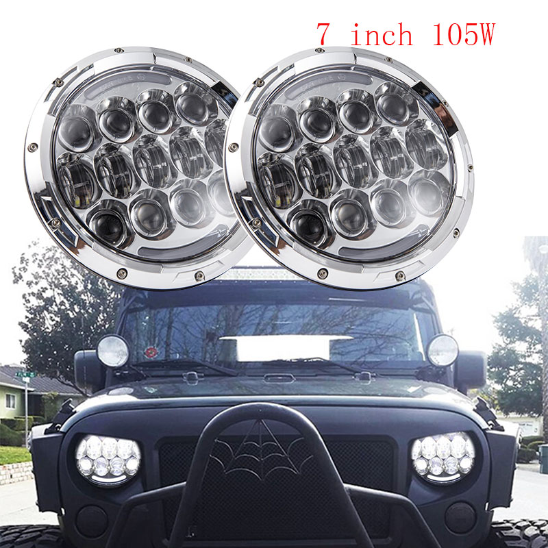 Black/Chrome 2PCS 7inch Round 105W LED Headlight DRL Turn Signal for Jeep Wrangler Hummer 4x4 4WD SUV Driving Headlamp black chrome round 75w high low beam drl led auto headlight driving fog lights for jeep wrangler hummer h1 h2 offroad