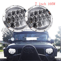 Black Chrome 2PCS 7inch Round 105W LED Headlight DRL Turn Signal For Jeep Wrangler Hummer 4x4