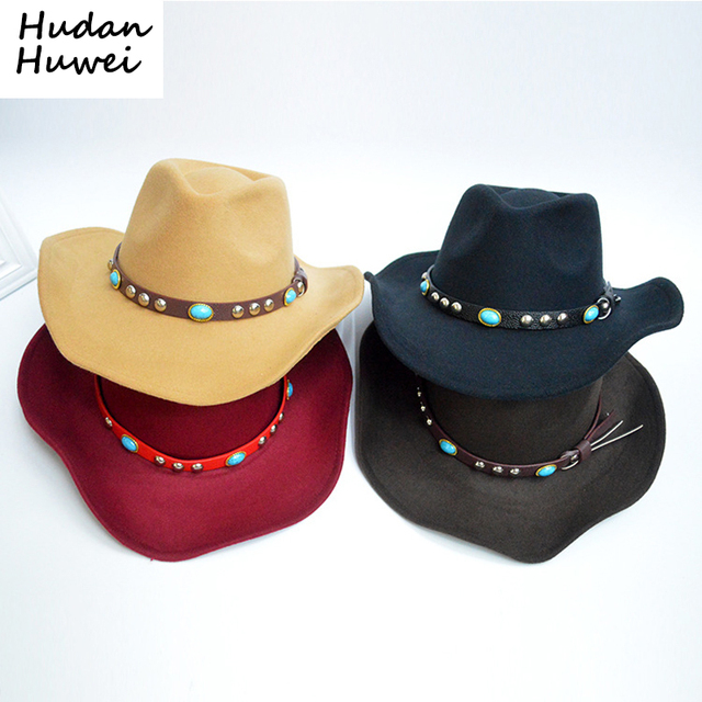 49d221563f3 Autumn Winter Unisex Woolen Western Cowboy Hats with Jewel Belt Buckle  Fashion Wide Brim Fedoras Hats Caps for Men Women