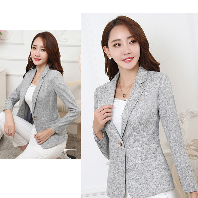 Autumn women coat 2018 fashion new solid color Plus size Notched Long sleeves Thickeing Single Button Slim female Blazers ll612