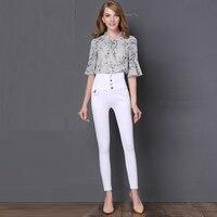 Moda elástico skinny jeans mujeres de cintura alta jeans niñas delgado lápiz pantalones vaqueros estilo lindo jeans sexy chica desgaste