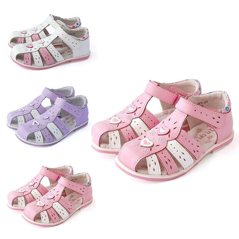 2018 Super Quality Kids Shoes cute flower 1 pair Rhinestone Genuine Leather Orthopedic Children shoes girl sandals