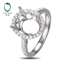 Caimao 9x11mm Oval Cut Semi Mount Setting Ring 14K White Gold Natural 0 32ct Diamond Engagement
