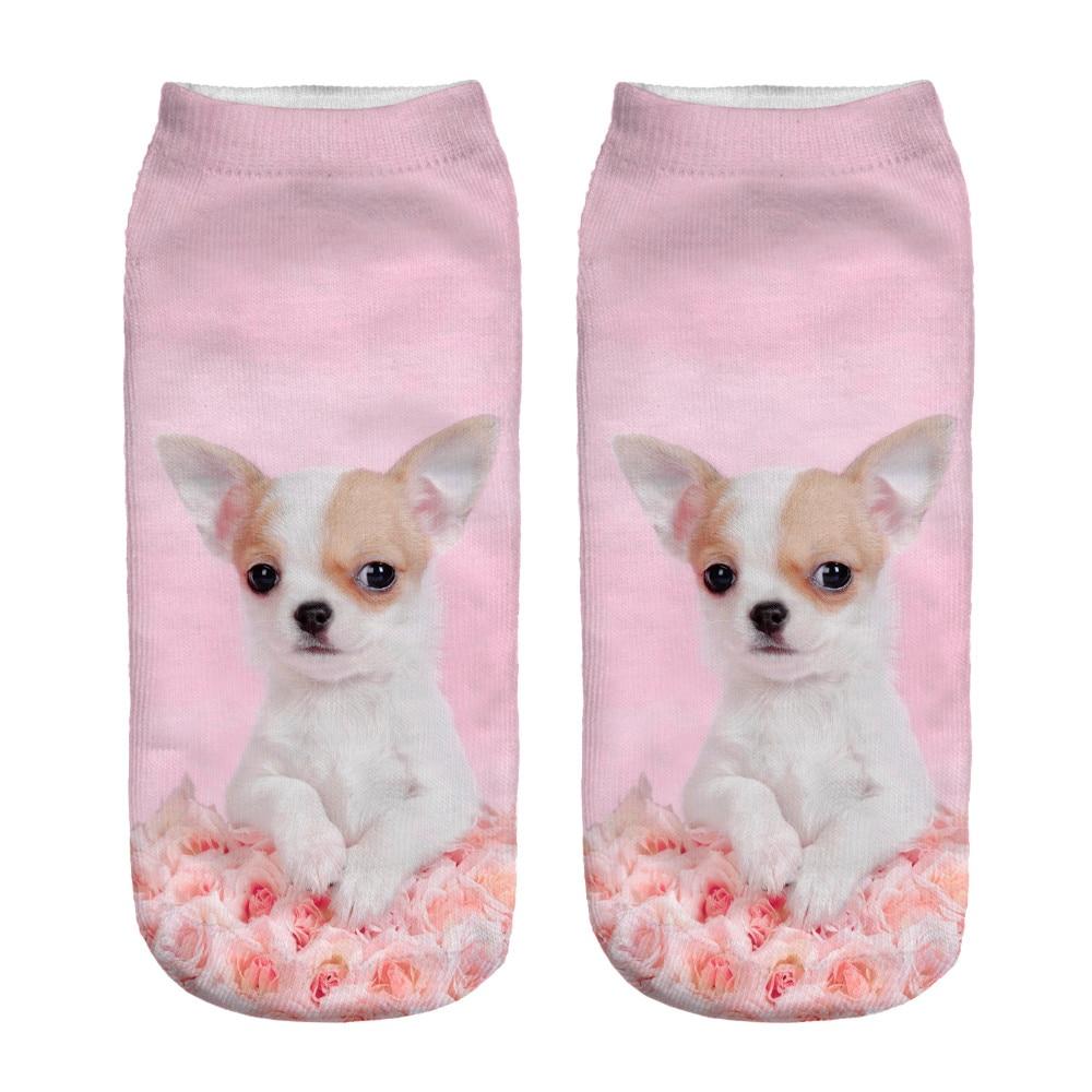 1 Paar 3d Rosa Rose Hund Mops Gedruckt Socke Männer Neue Unisex Nette Low Cut Ankle Socke Frauen Kurze Socken Für Verkauf