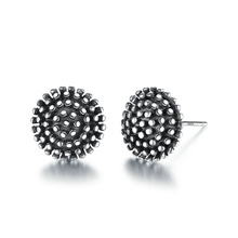VOROCO Dark Light 925 Sterling Silver Entry Luxe Black and  Polish Vintage Round Stud Earring Unisex  Women &Man Fine Jewelry sg high polish 925 silver vintage black