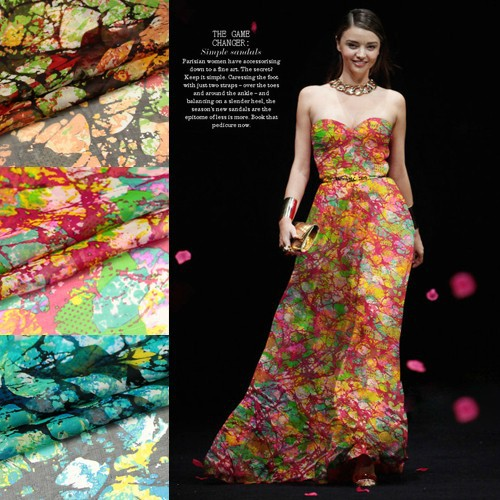 135 cm širok 6 mm abstraktno lep tiskan svilen šifon iz tkanine za - Umetnost, obrt in šivanje - Fotografija 1