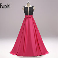 2017 Real Sample Sexy Red Formal Long Evening Dresses Beading Bow V Neck Satin Evening Gown For Prom Party Backless Custom Made