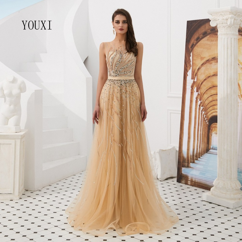 Sexy Gold Illusion Beaded Crystal Prom Dresses 2019 New Robe de Soiree Evening Party Gown Custom