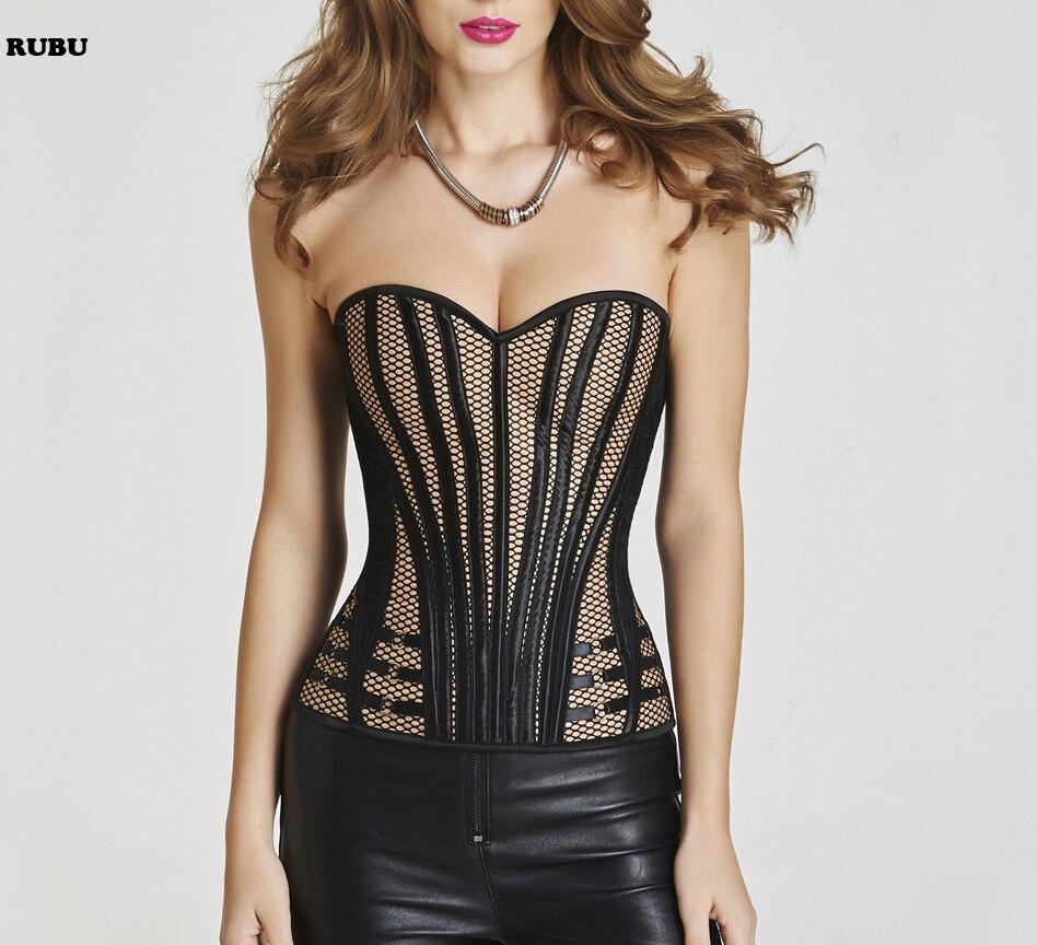 women sexy Leather Striped corset waist trainer corset steampunk gothic waist trainer Bustier corset corselet waist trainer