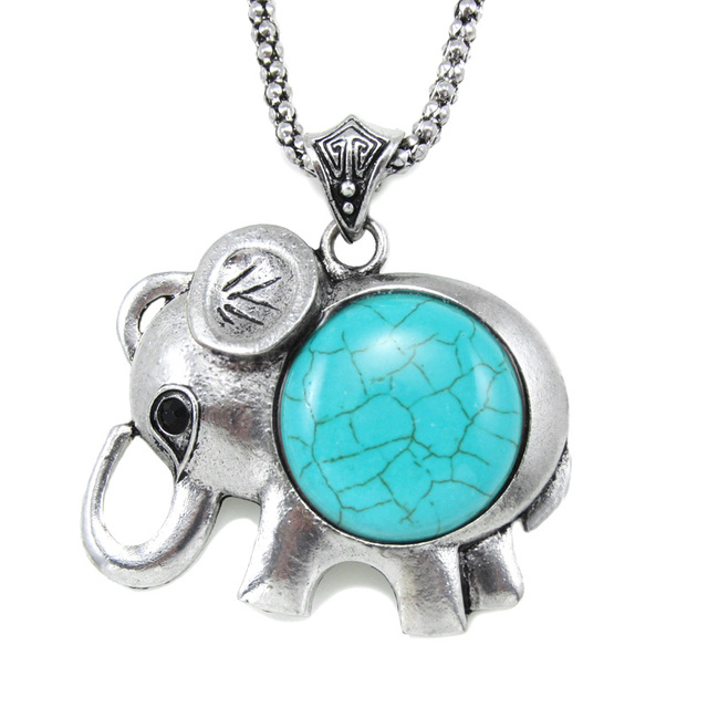 Big green stone necklace animal elephant pendant necklaces costume big green stone necklace animal elephant pendant necklaces costume jewelry women silver plated chain cute aloadofball Images