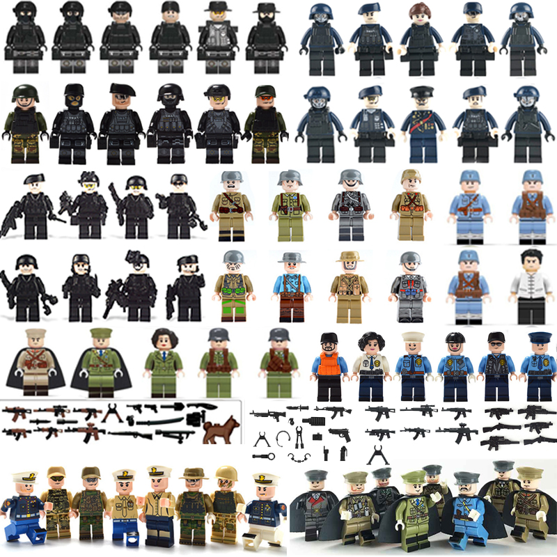 60Pcs/set DIY Military Soldier Dolls Armed Forces Bricks Figures Guns Weapons SWAT Building Blocks Ww2 Toys