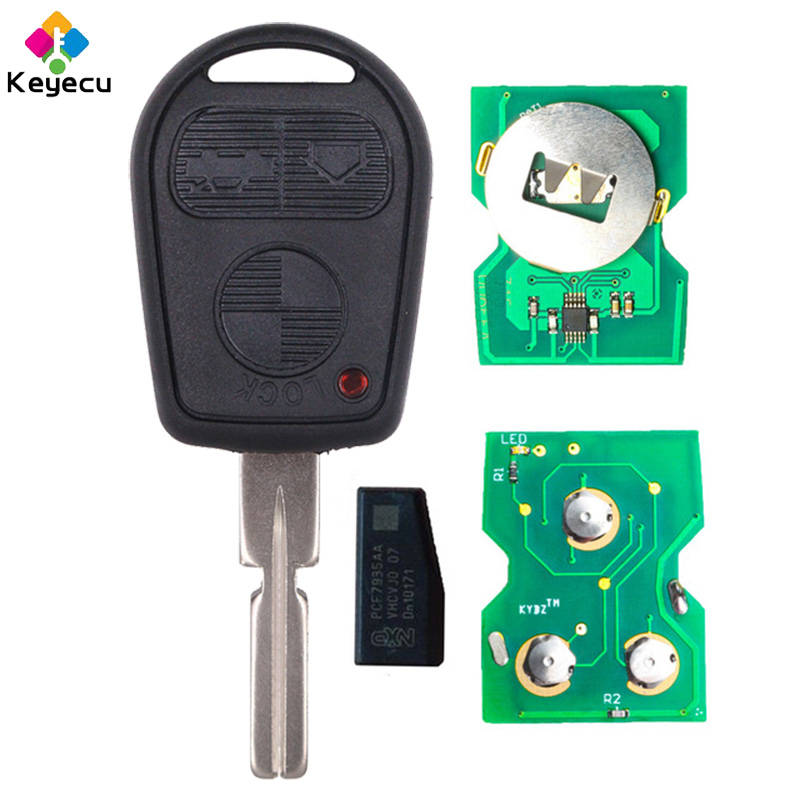 KEYECU EWS 3 Button Remote Key FOB for BMW 3 5 7 X5 X3 Z4 E38 E39 E46 315MHz/433MHz ID44 Chip HU58 Blade