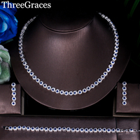 ThreeGraces Newest Bridal Royal Blue Flower CZ Crystal Bracelets Earrings Jewelry Silver Color 3PCS Wedding Necklace Sets JS126
