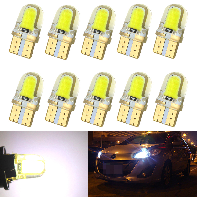 10pcs Auto T10 LED W5W LED Bulbs White 194 168 LED Lamp 501 COB silicone shell Car LED Lights Super Bright Turn Side Lamp DC12V