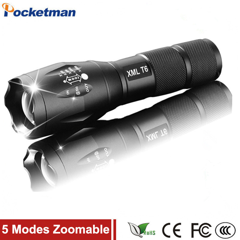 100% Authentic E17 3800 Lumens 5-Mode CREE XM-L T6 LED Flashlight Zoomable Focus Torch by 1*18650 or 3*AAA Free shipping