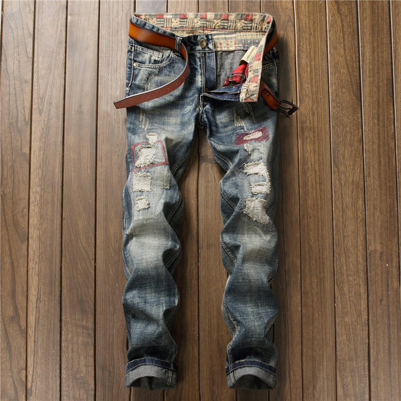 New arrival slim straight light blue ripped jeans trousers men destroyed denim pants with hole patchwork crotch zipper jeans