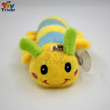 Wholesale 100pcs caterpillar doll keychains bag small pendant font b plush b font toys wedding birthday