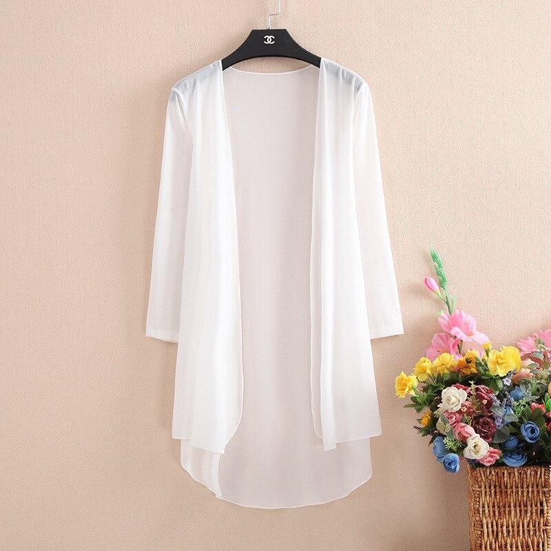 Kimono Cardigan Women Summer Cardigan Feminino White Shirt Plus Size Boho Korean Long Sleeve Blouse 2019 Mesh Bohemian Top Blusa