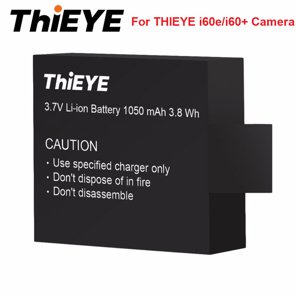 Original THIEYE 3.7V 1050mAh Li-ion Battery Black For THIEYE i60e/i60+ Camera Sport Camera batteries