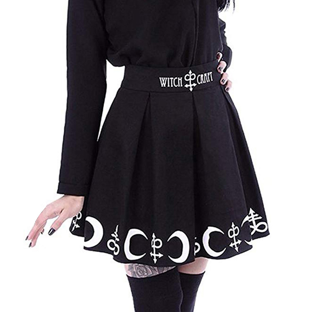 Women Gothic Punk Moon Magic Spell Symbols Pleated Mini Skirt Black Simple  NEW Summer Wild Mini Skirt  #Zer