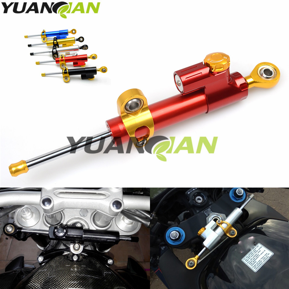 Motorcycle moto CNC Damper Steering StabilizerLinear Reversed Safety Control for MT-07 MT-09 YZF R1 R6 Z800 Z750 Z1000 ER6N New gt motor motorcycle cnc steering damper stabilizerlinear reversed safety control with bracket for yamaha mt09 mt 09 fz 09 13 17