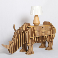 1 Set North European Style Creative Wood Rhinos Drawer Table Wood Desk Drawer Animal Furniture TM004M