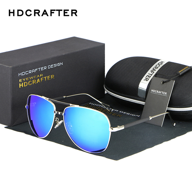 1afff77313b HDCRAFTER Polarized Sunglasses Sun Glasses Men Fashion Mens Sunglasses  Brand Designer Oversized Blue Coating Eyewear