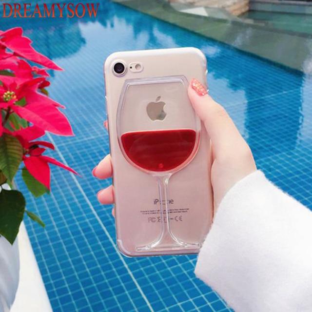 quality design f2bc2 bcab6 Hard Liquid Fluid Red Wine Glass Case For iphone 7 8 Plus X Transparent  Phone Case For iPhone SE 5 5S 6 6S Plus 7Plus XS Cover