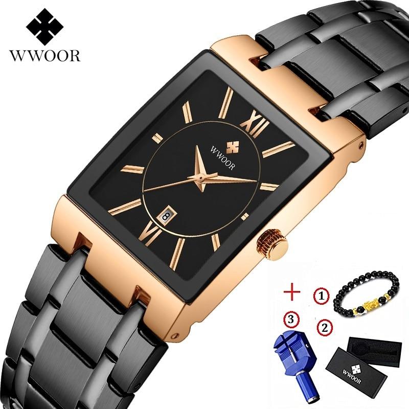 Men Watches Top Brand Luxury WWOOR Gold Black Square Quartz Watch Men Waterproof Golden Male Wristwatch Men Watch 2019 Brand