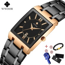 Men Watches Top Brand Luxury WWOOR Gold Black Square Quartz Watch Waterproof Golden Male Wristwatch men watch 2019 brand
