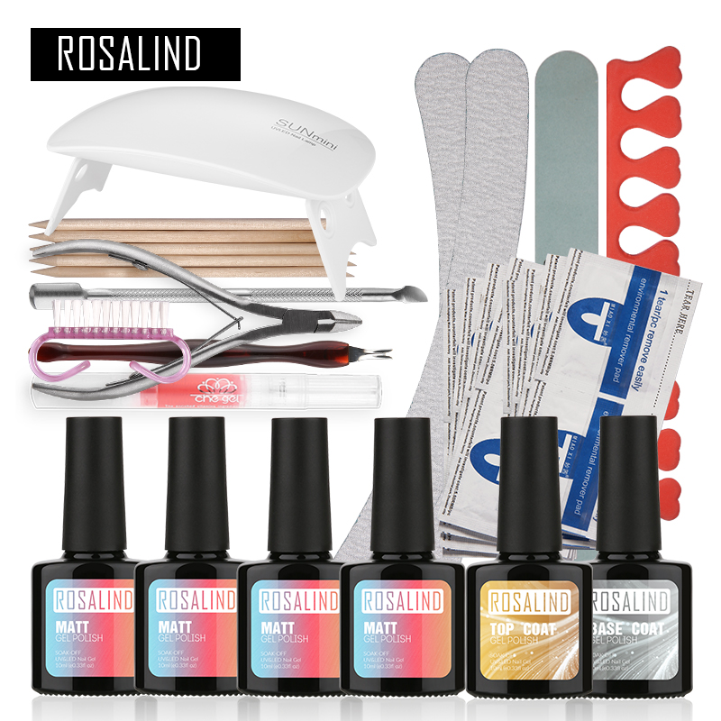 ROSALIND Matt UV Gel Kit Soak off Gel Polish Gel Nail Kit Nail Art Tools Sets Kits Manicure Set Pretty Nail Gel Long Lasting
