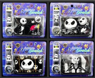NEW Classic 12 Set Cartoon Nightmare Before Christmas watches Wristwatch watch and Purses Wallets Set Glasses