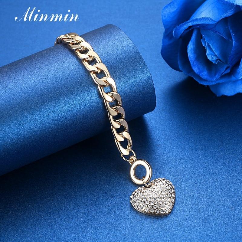Minmin lijepo zlato / srebro boja narukvice za žene srce kristal - Modni nakit - Foto 5