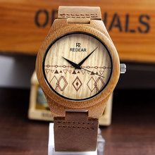 2016 New Arrival Fashion Natural Bamboo Men Women Wooden Quartz Leather Strap Watch Couple Lover Wrist Watch Valentines Day Gift