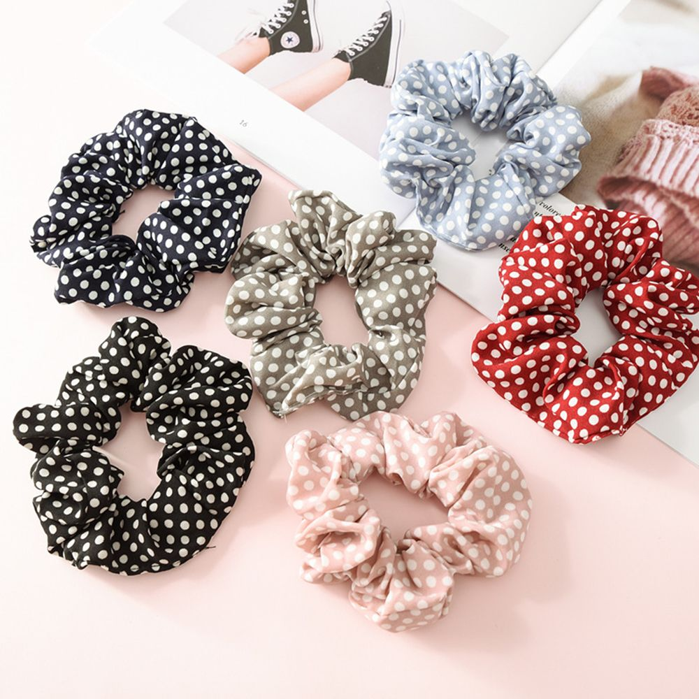 1Pcs Polka Dot Design Hair Scrunchies Ponytail Holder For Women Girls Hair Ties Gum Hair Bands Chiffon Fabric Hair Accessories
